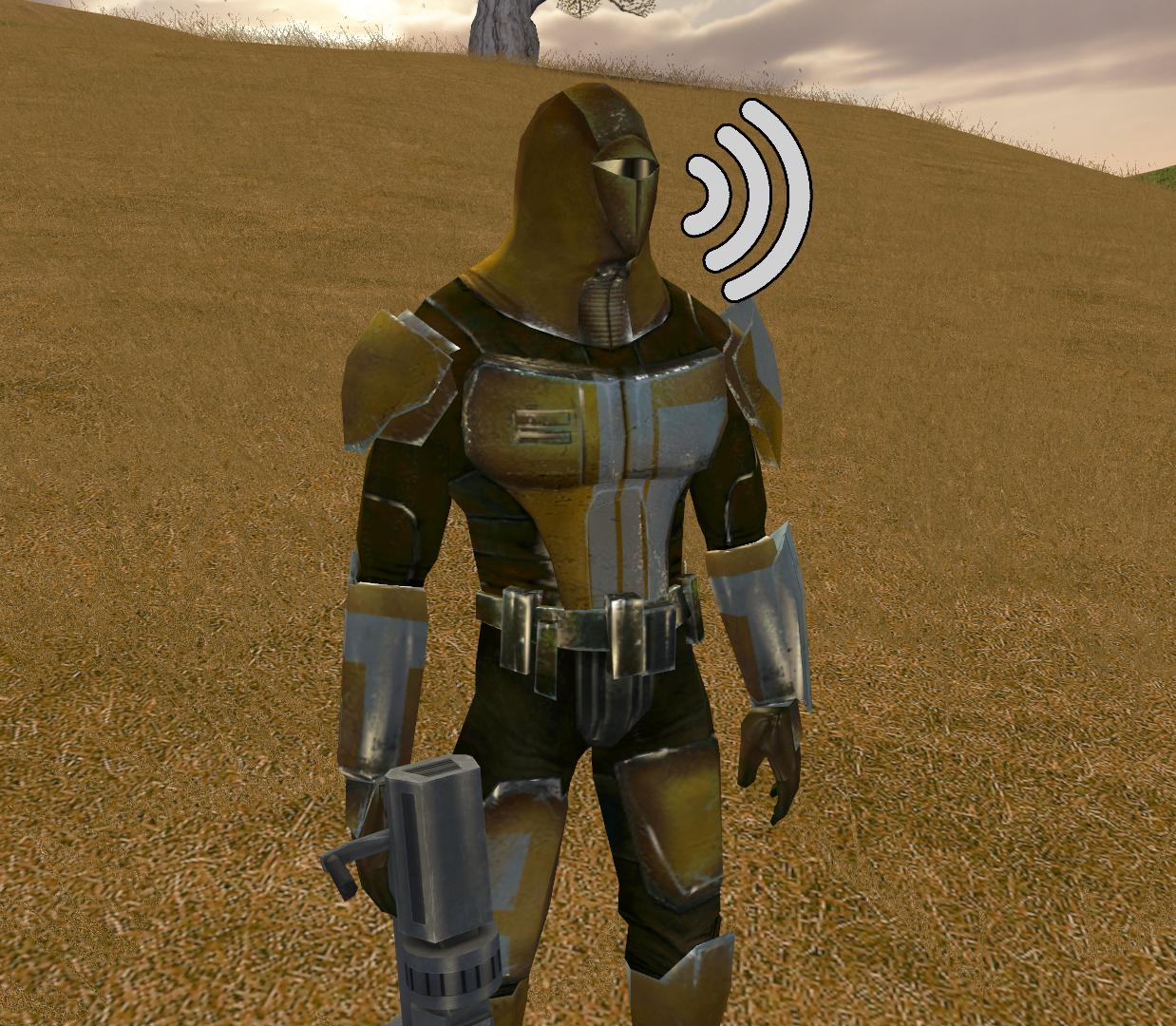 Canderous' helmet-filtered voice