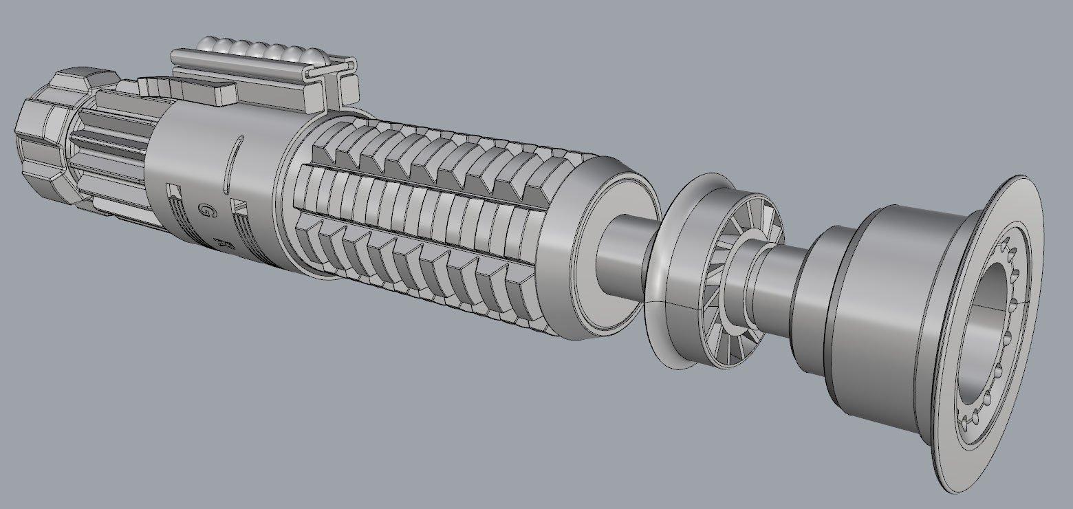 Obi-Wan ANH Lightsaber CAD Model 01