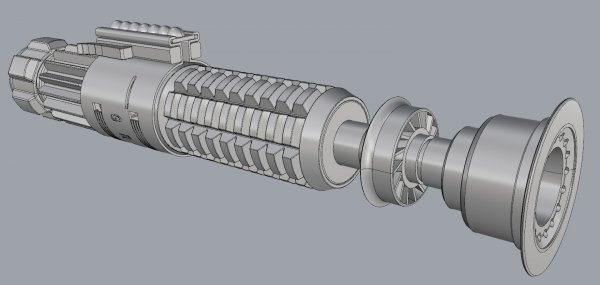 Obi-Wan ANH Lightsaber CAD Model 01